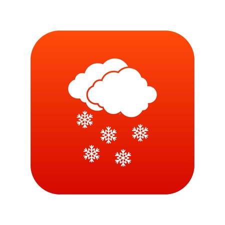 Cloud and snowflakes icon digital red for any design isolated on white vector illustration Illustration