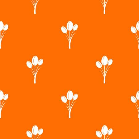 Tulips pattern repeat seamless in orange color for any design. Vector geometric illustration Illustration