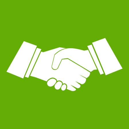 Handshake icon white isolated on green background. Vector illustration Illustration