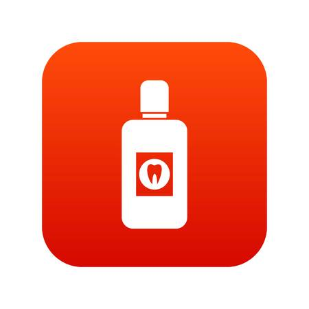 Bottle of mouthwash icon digital red.