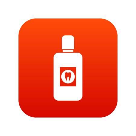 Bottle of mouthwash icon digital red.