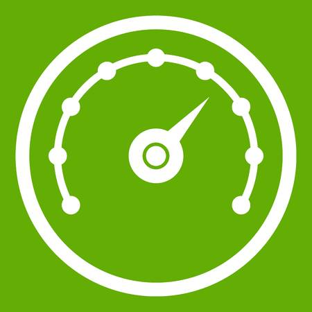 Speedometer icon white isolated on green background. Vector illustration