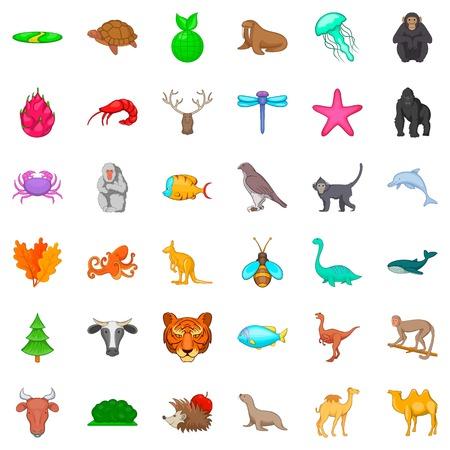 Snail icons set, cartoon style. Illustration