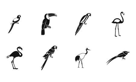 Exotic birds icon set, simple style Illustration