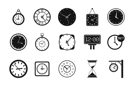 Wall clock icon set, simple style