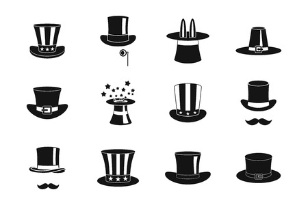 Top hat icon set, simple style Illustration