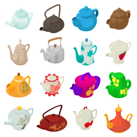 Teapot icons set, isometric style. Illustration
