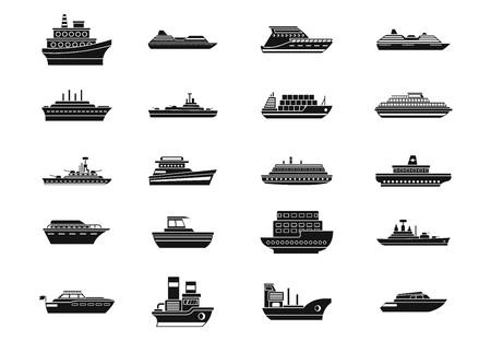Ship icon set, simple style