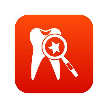 Tooth with magnifying glass icon digital red for any design isolated on white vector illustration Illustration