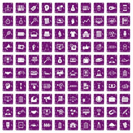 100 die vennootschappictogrammen in de purpere die kleur van de grungestijl worden geplaatst op witte vectorillustratie wordt geïsoleerd als achtergrond