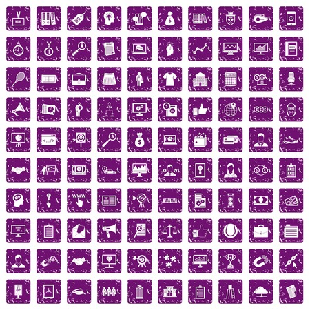 100 partnership icons set in grunge style purple color isolated on white background vector illustration