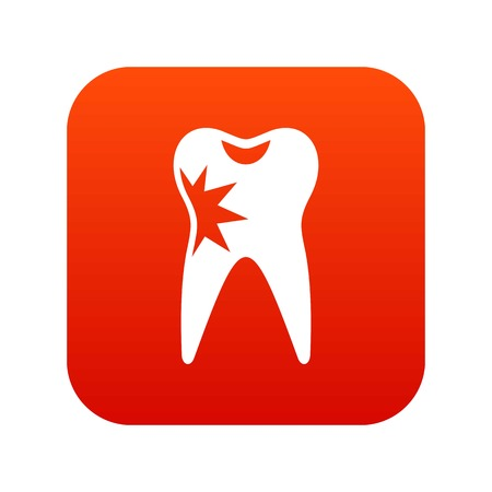 Cracked tooth icon digital red for any design isolated on white vector illustration