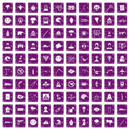 100 phobias icons set in grunge style purple color isolated on white background vector illustration Иллюстрация