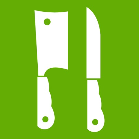 Kitchen knife and meat knife icon white isolated on green background. Vector illustration