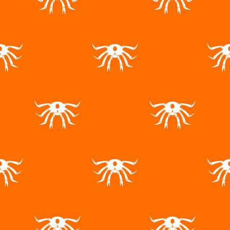 Crab seafood pattern repeat seamless in orange color for any design. Vector geometric illustration