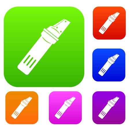 glasscutter: Glass cutter set icon color in flat style isolated on white. Collection sings vector illustration