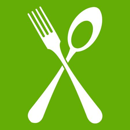 modern kitchen: Spoon and fork icon white isolated on green background. Vector illustration