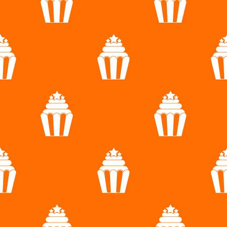dessert buffet: Popcorn pattern repeat seamless in orange color for any design. Vector geometric illustration