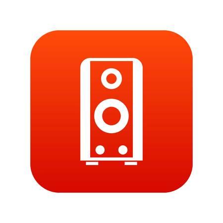 Black sound speaker icon digital red Illustration