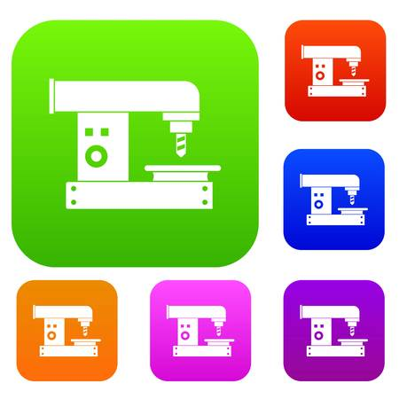 Drilling machine set icon color in flat style isolated on white. Collection sings vector illustration Illustration