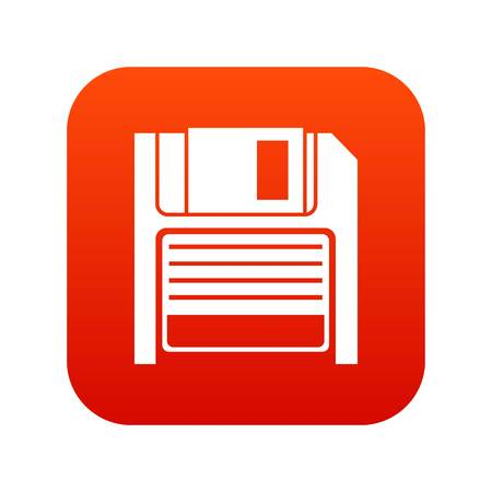 Magnetic diskette icon digital red for any design isolated on white vector illustration