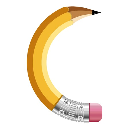 Letter c pencil icon. Cartoon illustration of letter c pencil vector icon for web