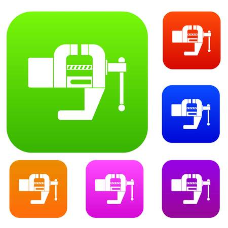 Vise tool set icon color in flat style isolated on white. Collection sings vector illustration Ilustração