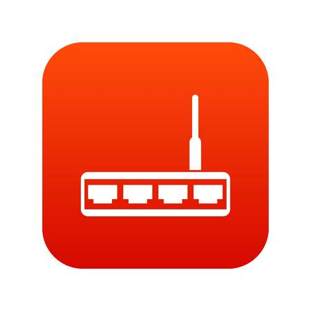 Router icon digital red for any design isolated on white vector illustration Illustration