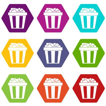 Box of popcorn icon set many color hexahedron isolated on white vector illustration