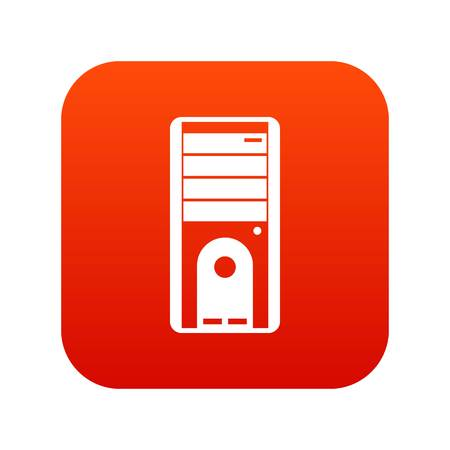 Computer system unit icon digital red for any design isolated on white vector illustration Illustration
