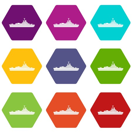Warship icon set many color hexahedron isolated on white vector illustration Illustration