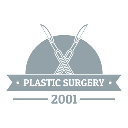 Plastic surgery logo. Gray monochrome illustration of plastic surgery vector logo for web Illustration