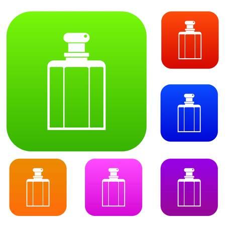Bottle of female perfume set icon.