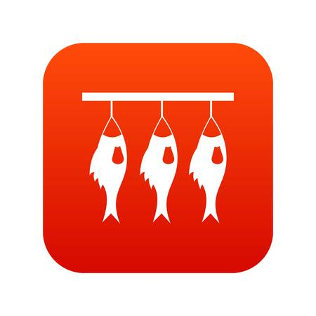 Three dried fish hanging on a rope icon digital red