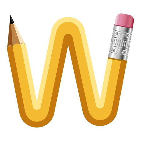 Letter w pencil icon. Illustration