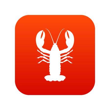 Crayfish icon digital red