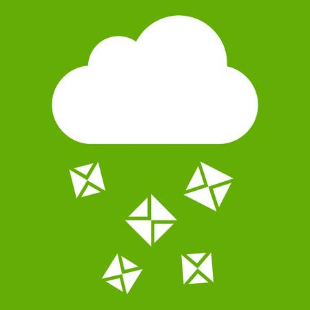 Cloud and hail icon green Illustration