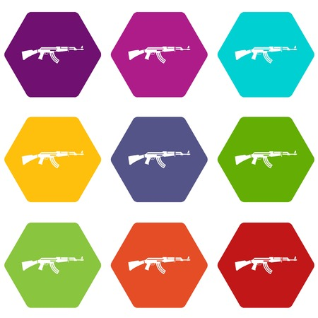 Military rifle icon set color hexahedron Illustration