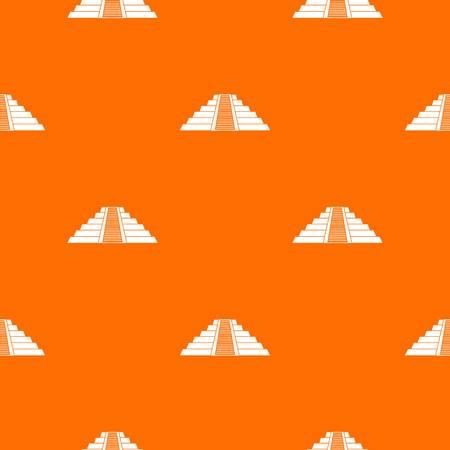 Ziggurat in Chichen Itza, Yucatan pattern repeat seamless in orange color for any design. Vector geometric illustration 向量圖像