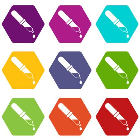Pipette icon set color hexahedron
