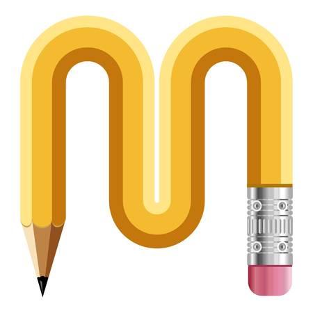 Letter m pencil read icon, cartoon style