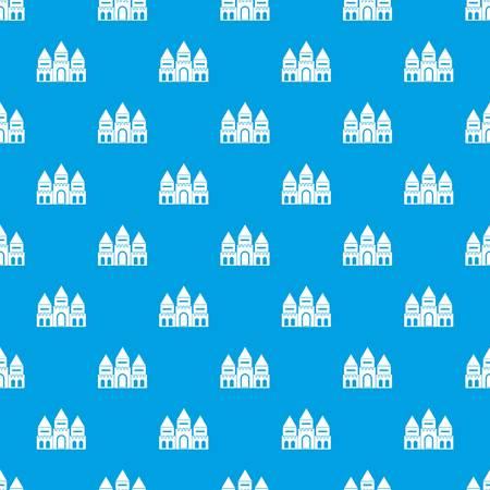 Children house pattern seamless blue Stock Vector - 88048591