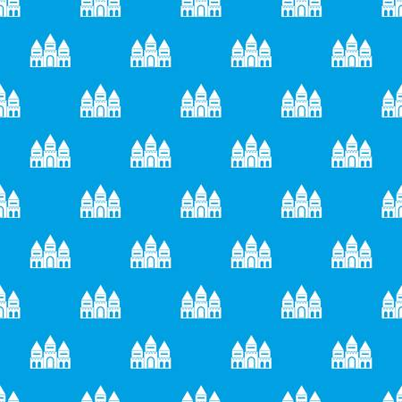 Children house pattern seamless blue