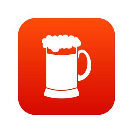 Mug of dark beer icon digital red Illustration