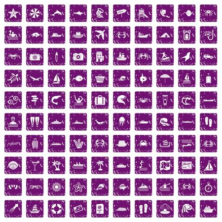 100 sea life icons set in grunge style purple color isolated on white background vector illustration