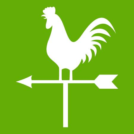 Weather vane with cock icon green