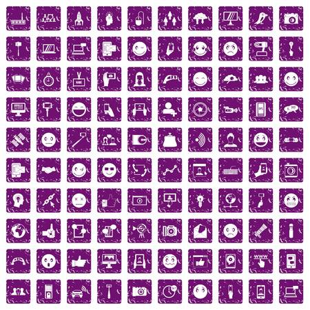 100 social media icons set grunge purple