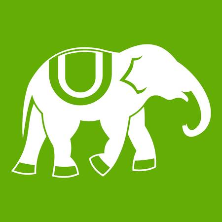 Elephant icon white isolated on green background. Vector illustration Иллюстрация