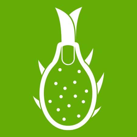 Dragon fruit icon white isolated on green background. Vector illustration Illustration