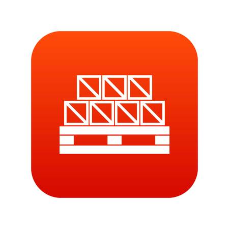 lading: Boxes goods icon digital red for any design isolated on white vector illustration